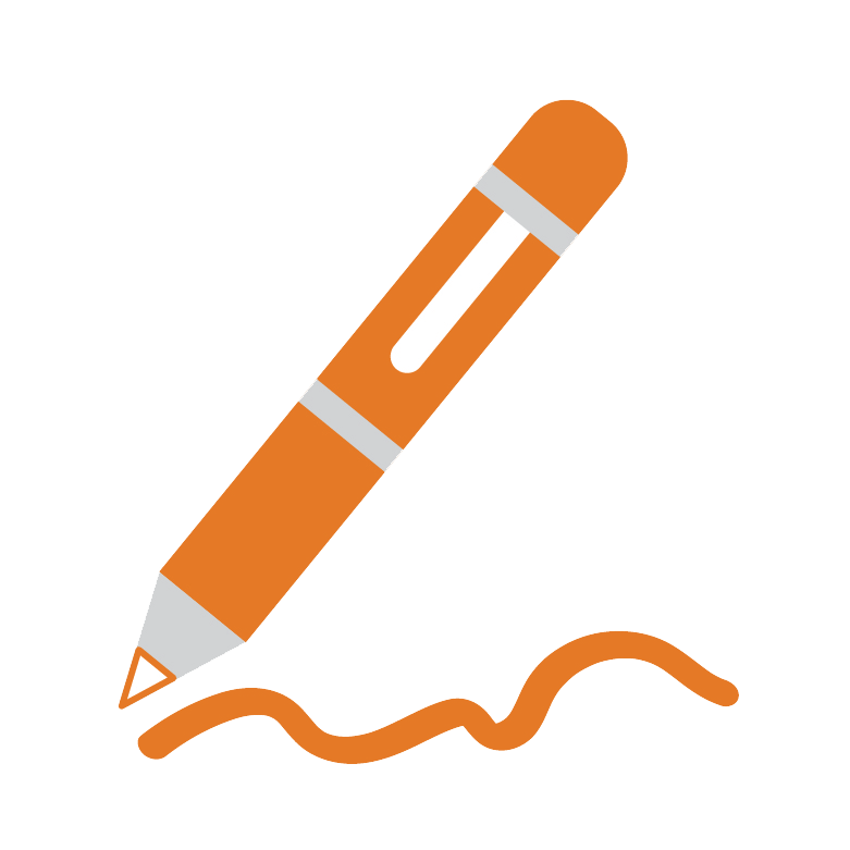 Orange pen with writing icon