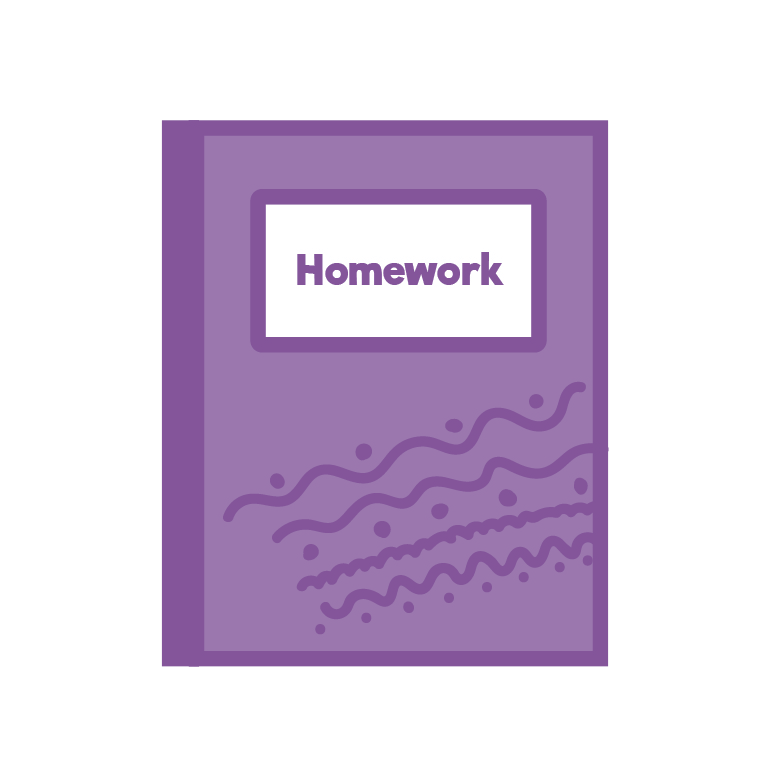 Purple homework jotter icon
