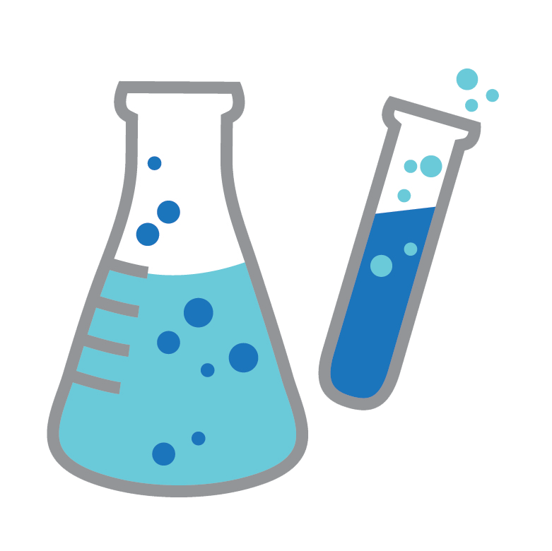 Two blue science test tube icons