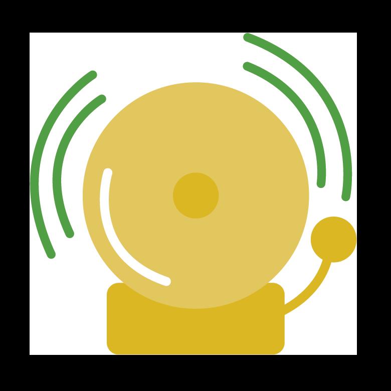 Yellow school bell icon
