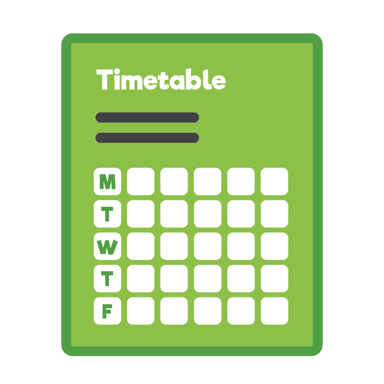 Green time table icon